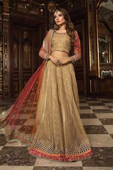 Mariab eid collection unstitched mbroidered gold coral bd 1505 image1