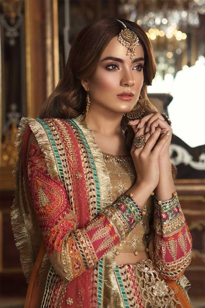 Mariab eid collection unstitched mbroidered gold coral bd 1505 image2