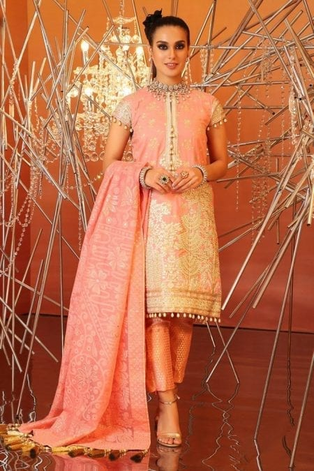 Alkaram 2 piece embridered suit with burnout dupatta fc 18h 20 peach image1