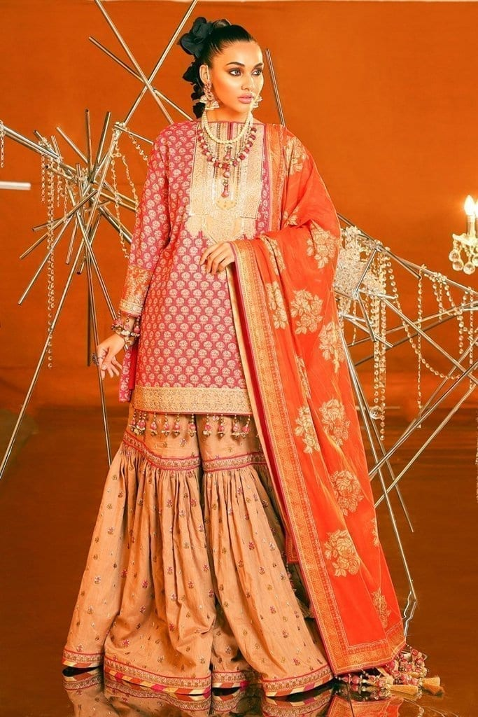 Alkaram 2 piece embroidered suit with brochier dupatta fc 07c 20 pink image1