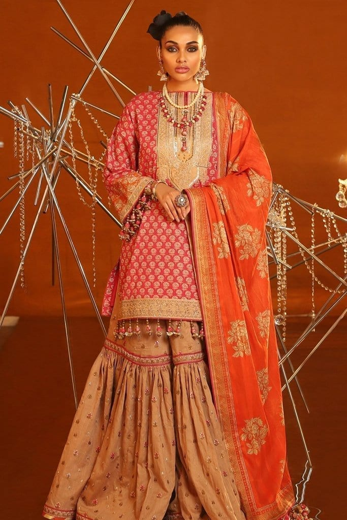 Alkaram 2 piece embroidered suit with brochier dupatta fc 07c 20 pink image2