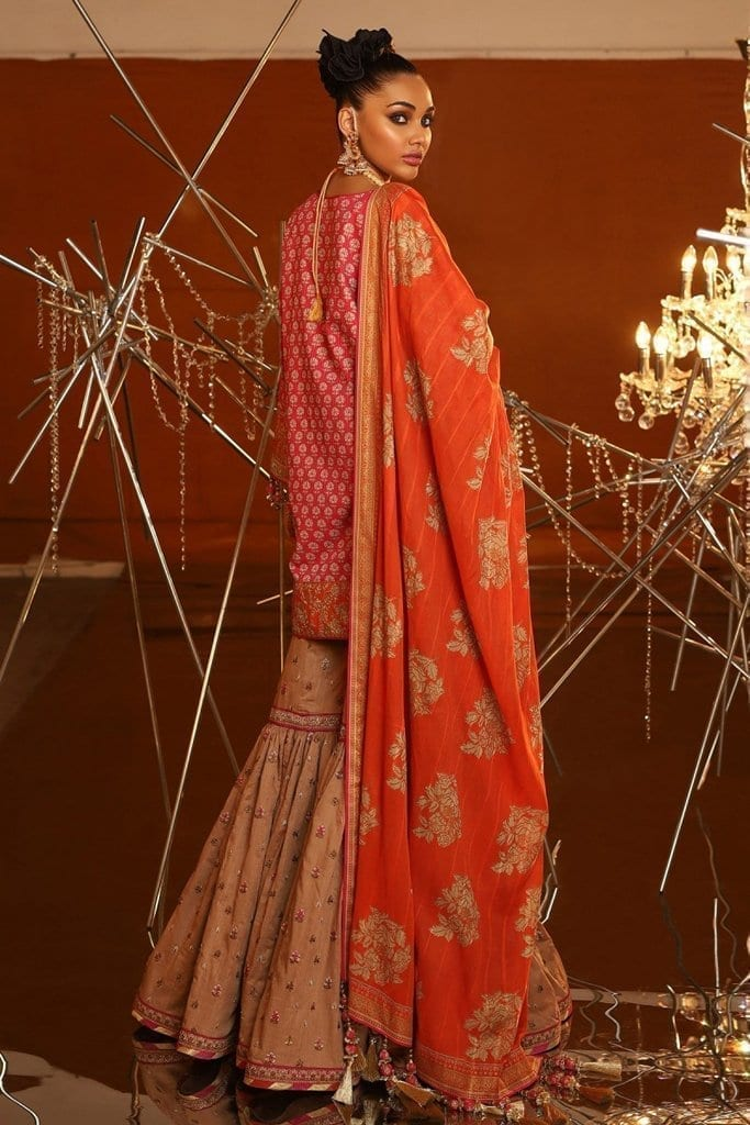 Alkaram 2 piece embroidered suit with brochier dupatta fc 07c 20 pink image3