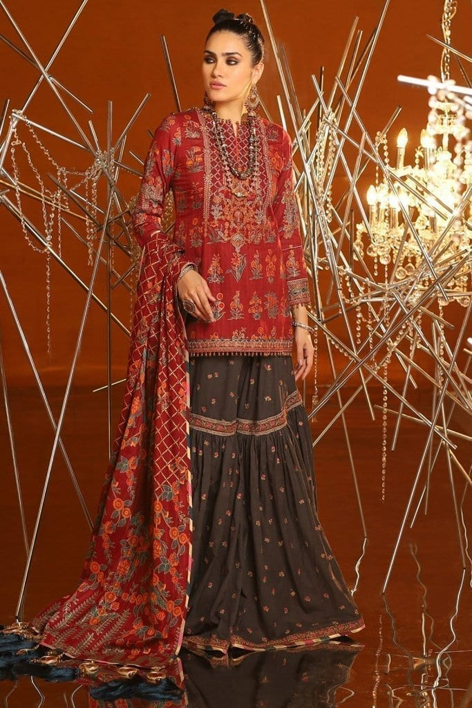 Alkaram 2 piece embroidered suit with brochier dupatta fc 08c 20 maroon image1