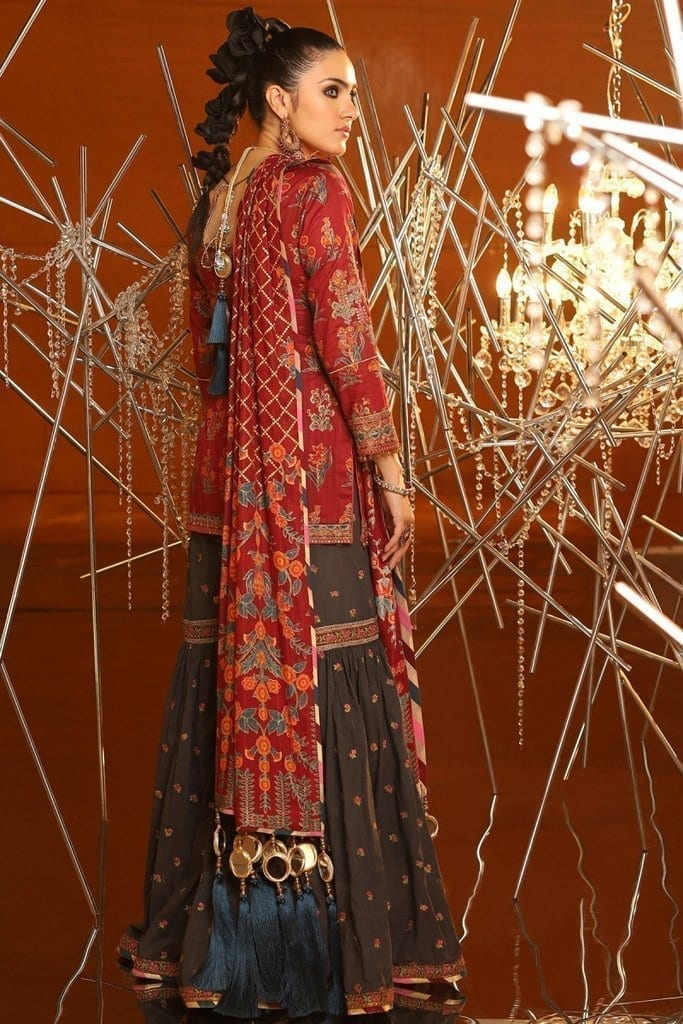 Alkaram 2 piece embroidered suit with brochier dupatta fc 08c 20 maroon image2
