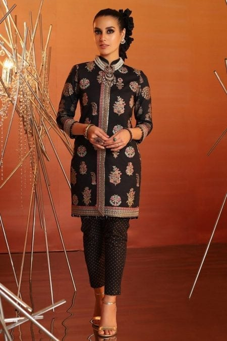 Alkaram 2 piece embroidered suit with printed cambric trouser fc 15g 20 black image1