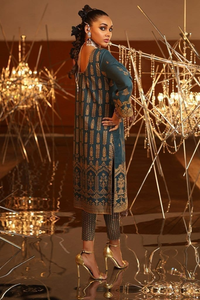 Alkaram 2 piece embroidered suit with printed cambric trouser fc 16g 20 dark blue image2