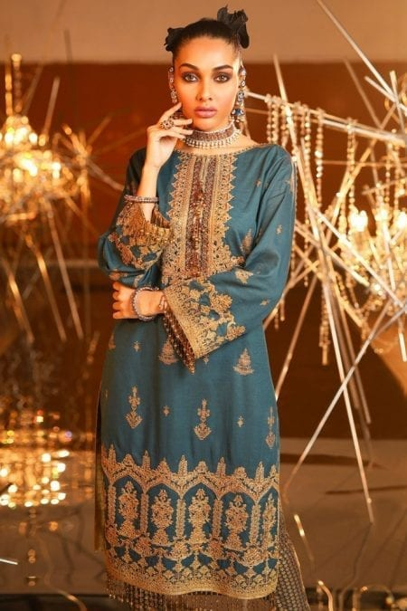 Alkaram 2 piece embroidered suit with printed cambric trouser fc 16g 20 dark blue image3