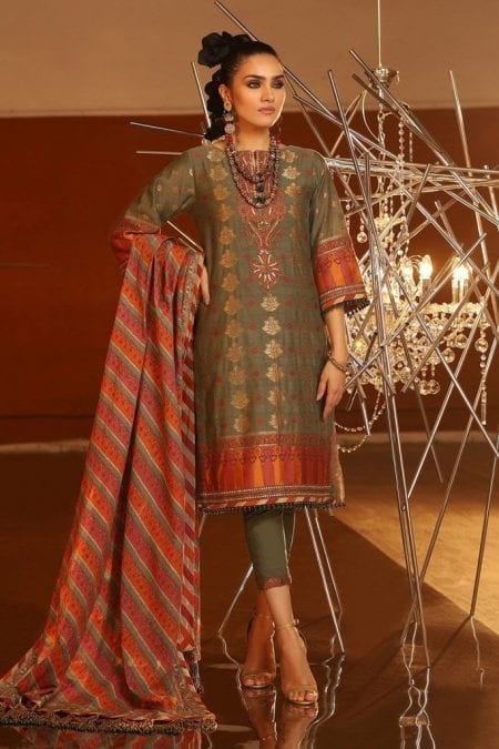 Alkaram 3 piece embroidered suit with cotton silk dupatta fc 02a 20 seige image1