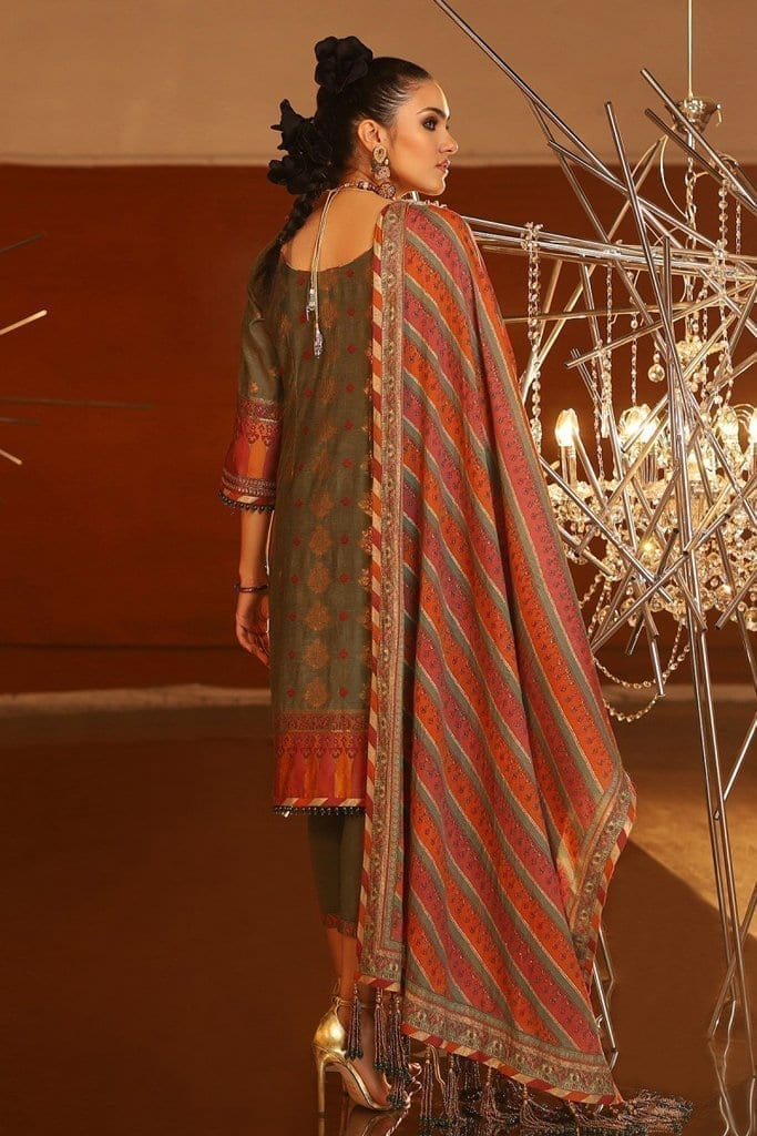 Alkaram 3 piece embroidered suit with cotton silk dupatta fc 02a 20 seige image2