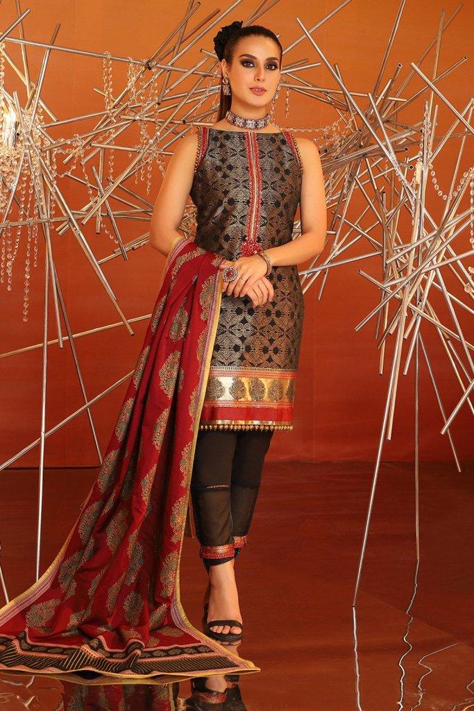 Alkaram 3 piece embroidered suit with cotton silk dupatta fc 05b 20 black image1