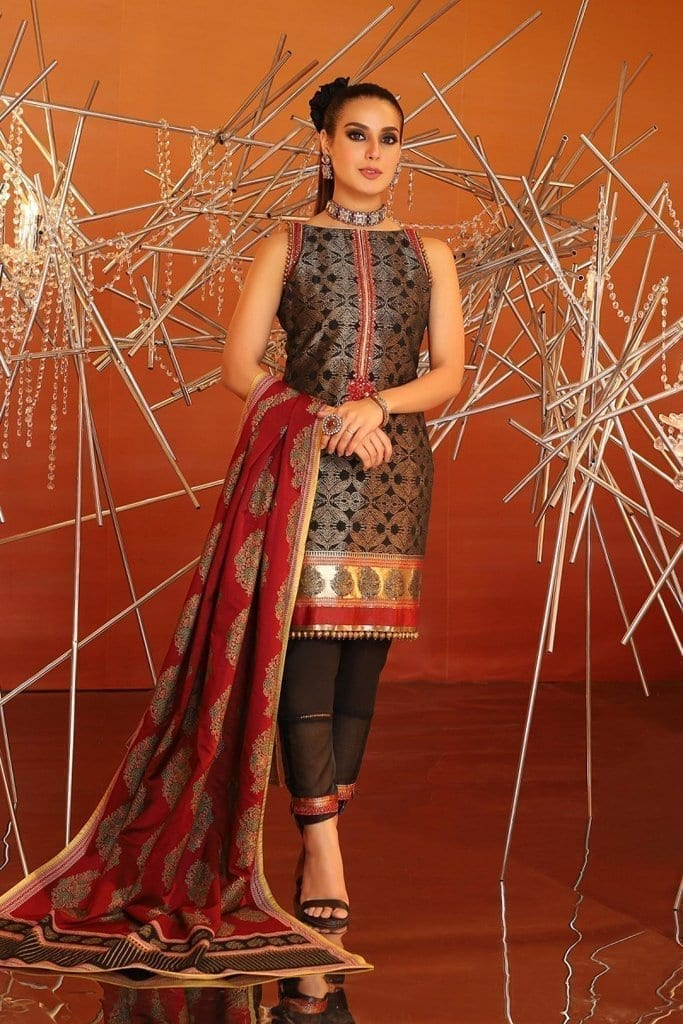 Alkaram 3 piece embroidered suit with cotton silk dupatta fc 05b 20 black image2
