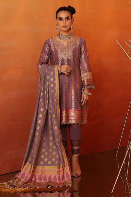 Alkaram 3 piece embroidered suit with cotton silk dupatta fc 06b 20 purple image1