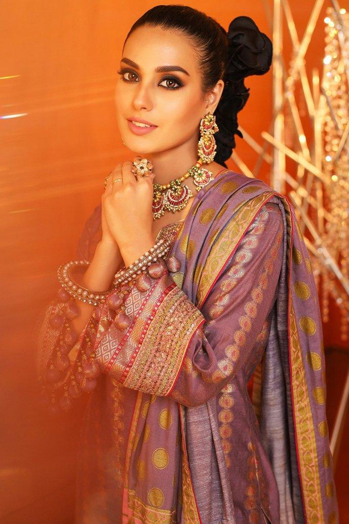 Alkaram 3 piece embroidered suit with cotton silk dupatta fc 06b 20 purple image2