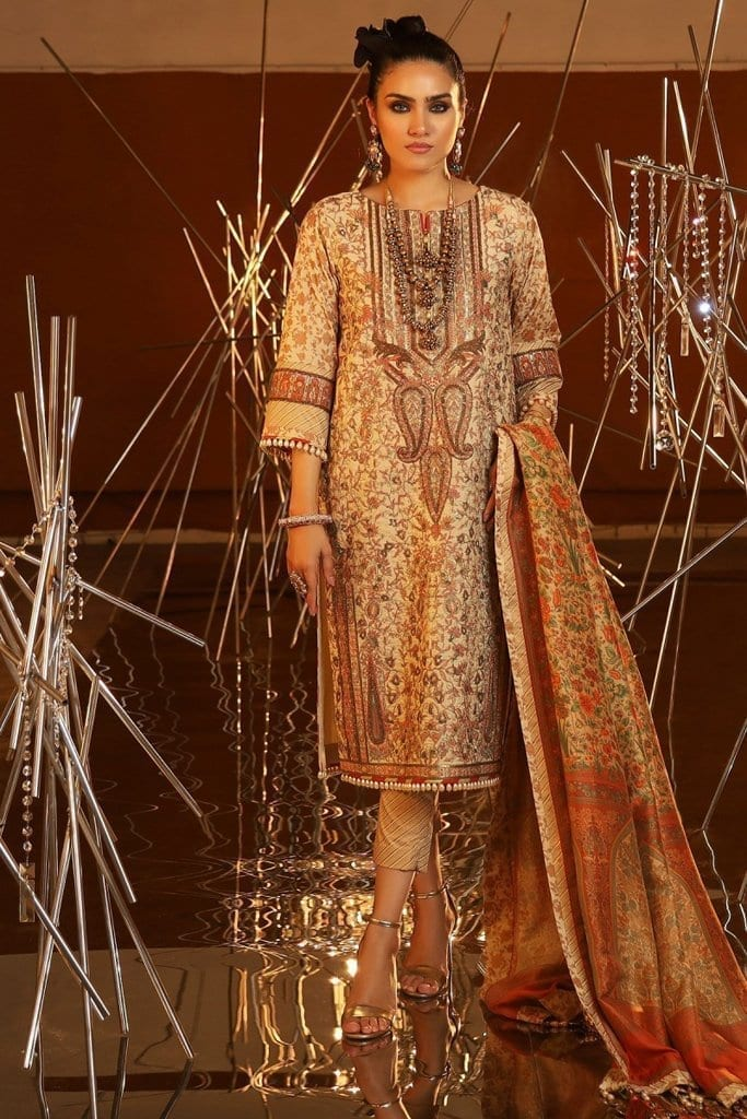 Alkaram 3 piece embroidered suit with cotton silk dupatta fc 20i 20 cream image1