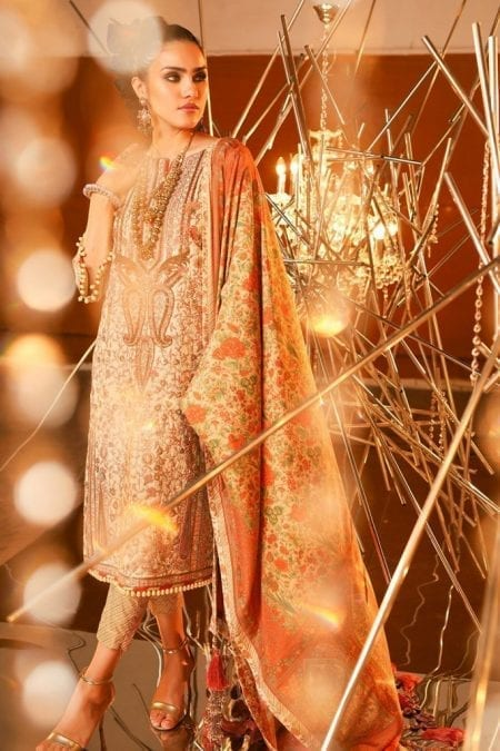 Alkaram 3 piece embroidered suit with cotton silk dupatta fc 20i 20 cream image3