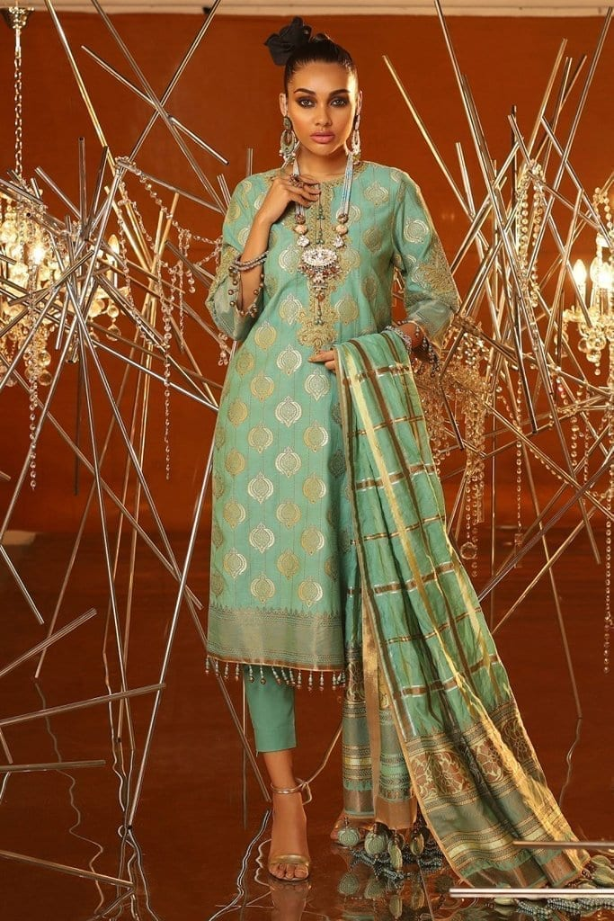 Alkaram 3 piece embroidered suit with jacquard woven dupatta fc 01a 20 ferozi image1