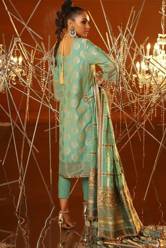 Alkaram 3 piece embroidered suit with jacquard woven dupatta fc 01a 20 ferozi image2