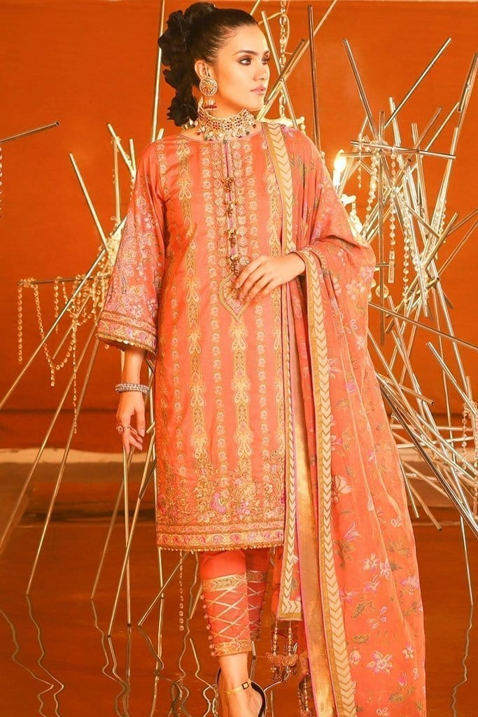 Alkaram 3 piece embroidered suit with printed chiffon dupatta fc 24k 20 coral image1