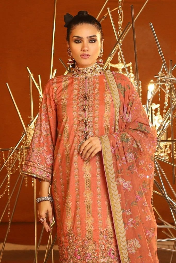 Alkaram 3 piece embroidered suit with printed chiffon dupatta fc 24k 20 coral image2