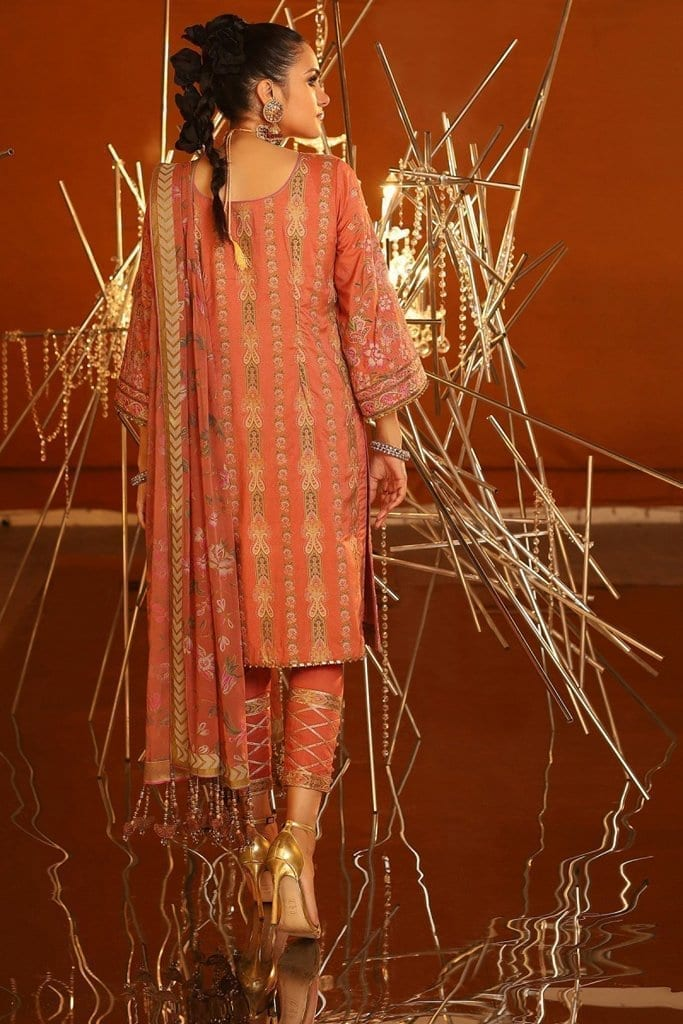 Alkaram 3 piece embroidered suit with printed chiffon dupatta fc 24k 20 coral image3