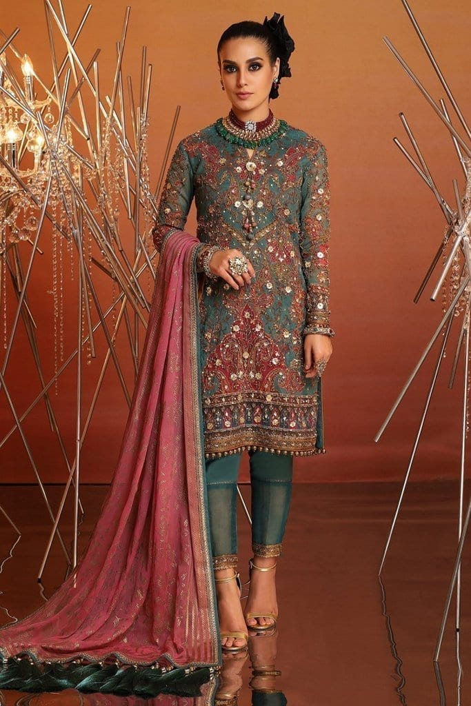 Alkaram 4 piece embroidered suit with printed chiffon dupatta fc 21j 20 green image1