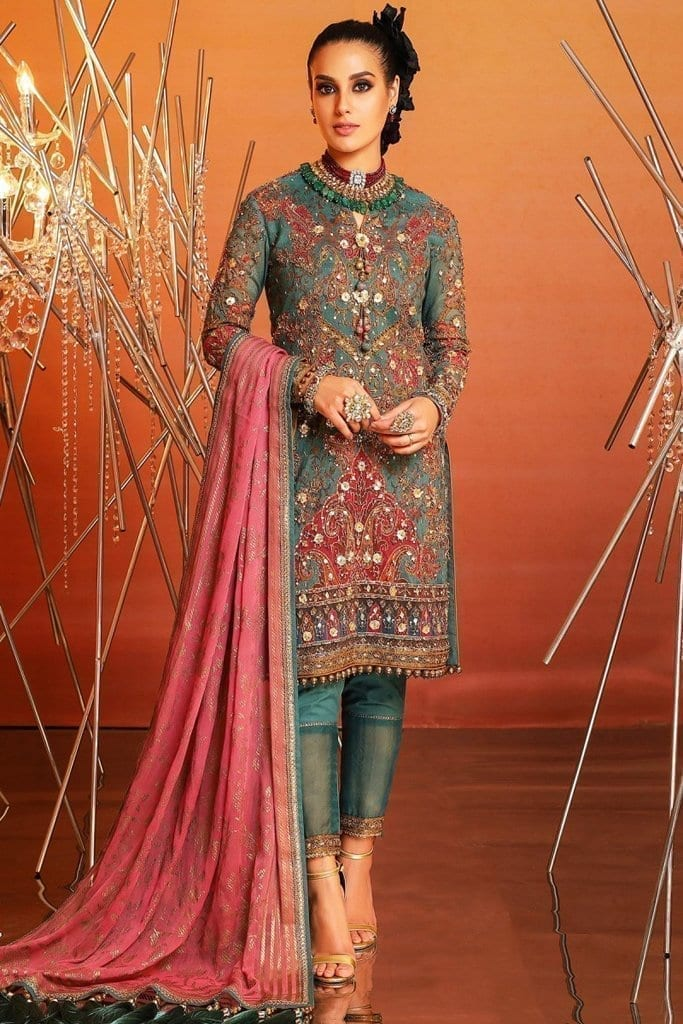 Alkaram 4 piece embroidered suit with printed chiffon dupatta fc 21j 20 green image3
