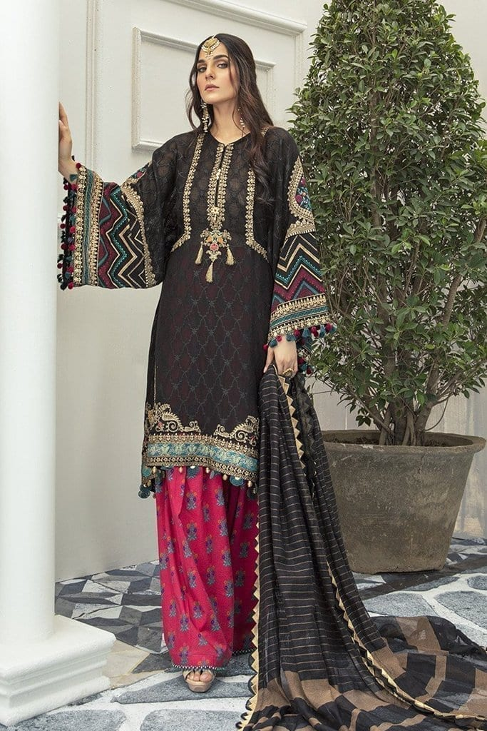 Maria B Embroidered EL-20-09-Black and Magenta-Festive Collection