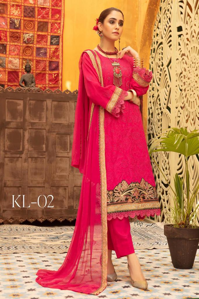 KHOOBSURAT   Luxury Karandi Stitched Schiffli Collection*20   KL 02