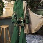MARIA B   LINEN   WINTER*20   DL-804-Emerald Green
