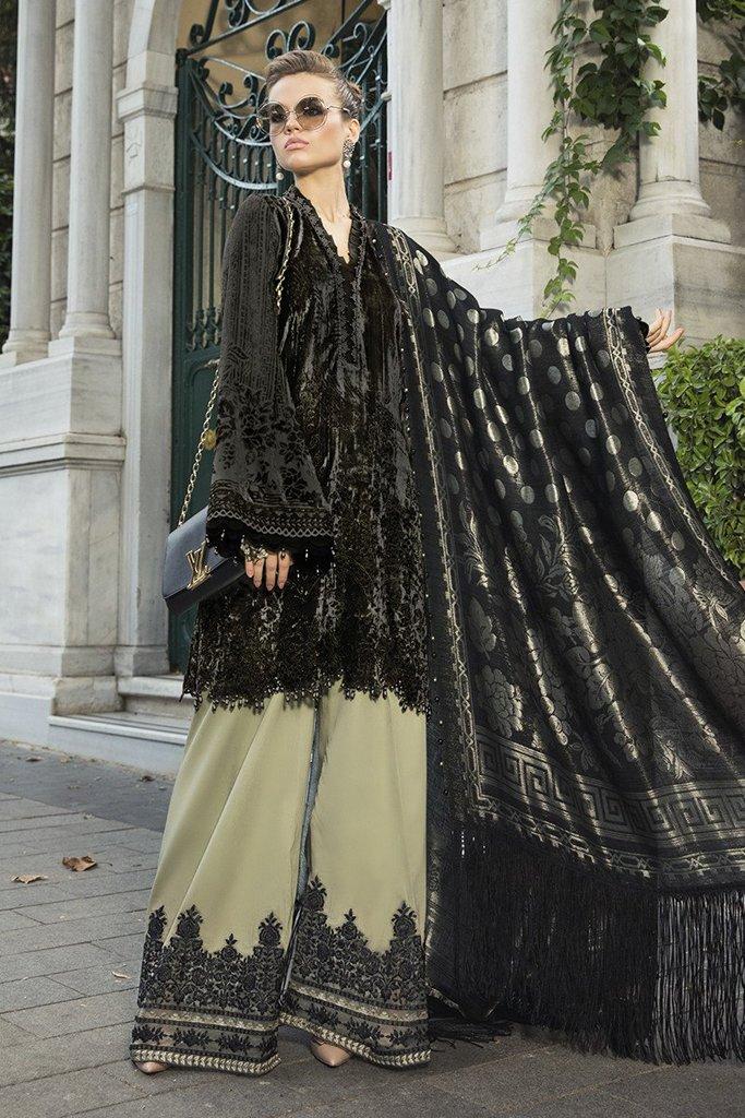 MARIA B | LINEN | WINTER*20 | DL-806-Black and Beige