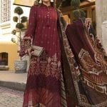 MARIA B | LINEN | WINTER*20 | DL-807-Maroon and Beige