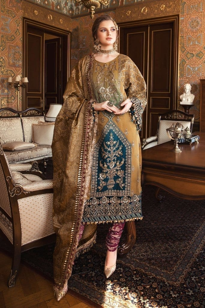 MARIA B-MBROIDERED | Wedding Collection | Mustard (BD-2001)