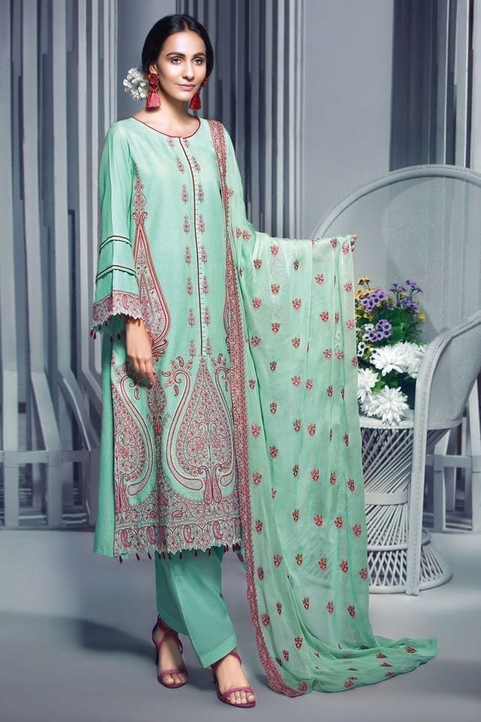 GUL AHMED | 3 PC Embroidered Lawn Suit with Chiffon Dupatta | PM-286