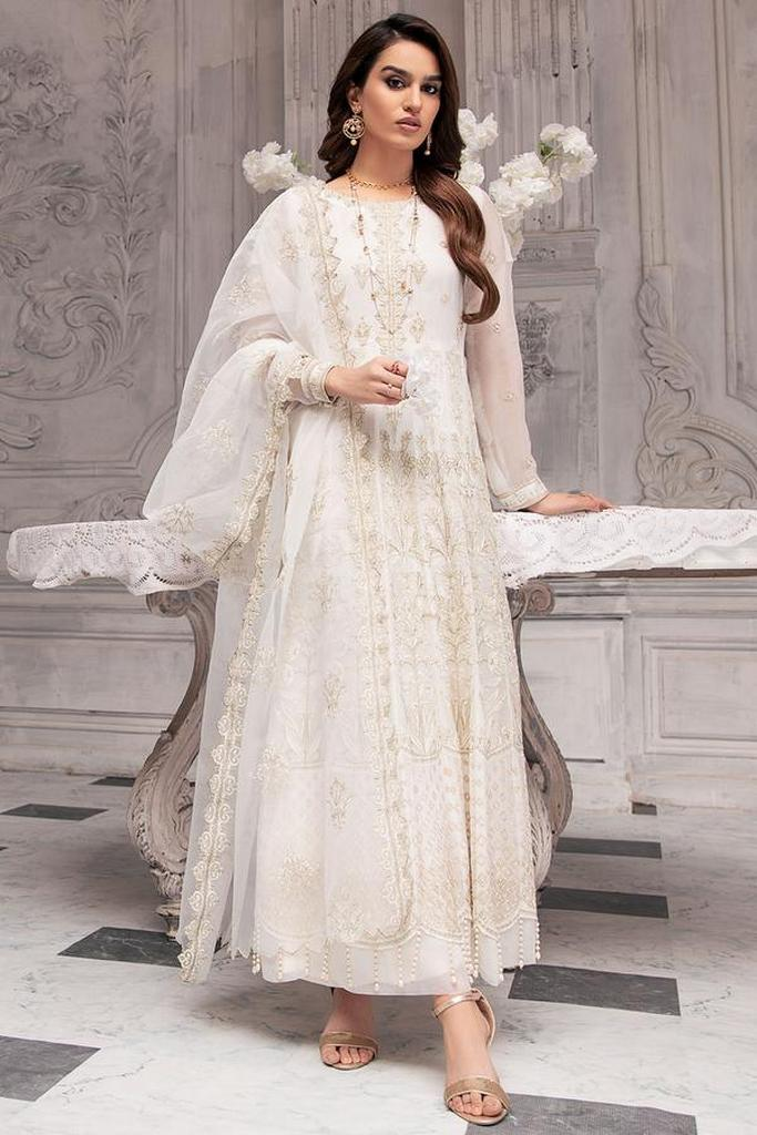 MOTIFZ | EMBROIDERED BEMBERG CHIFFON Collection | WHITE DOVE-2646