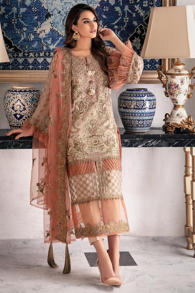 MOTIFZ | EMBROIDERED BEMBERG CHIFFON Collection | TOFFEE CRUNCH-2648