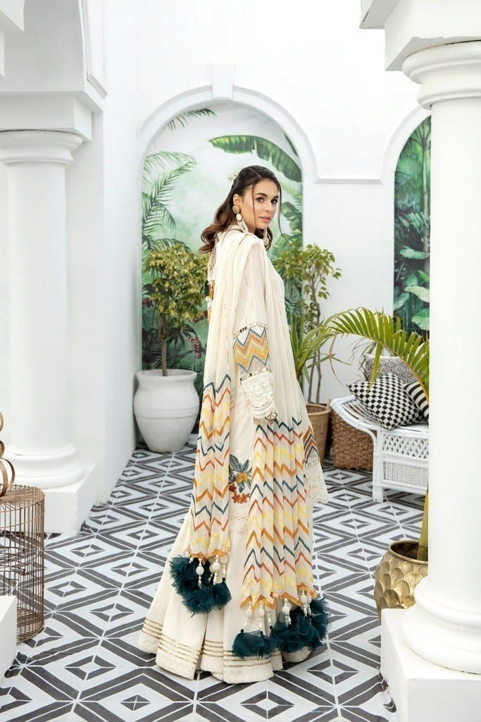 ADANS LIBAS   SHIFFLI EMBROIDERED SUMMER Collection   CREAMED BUTTER