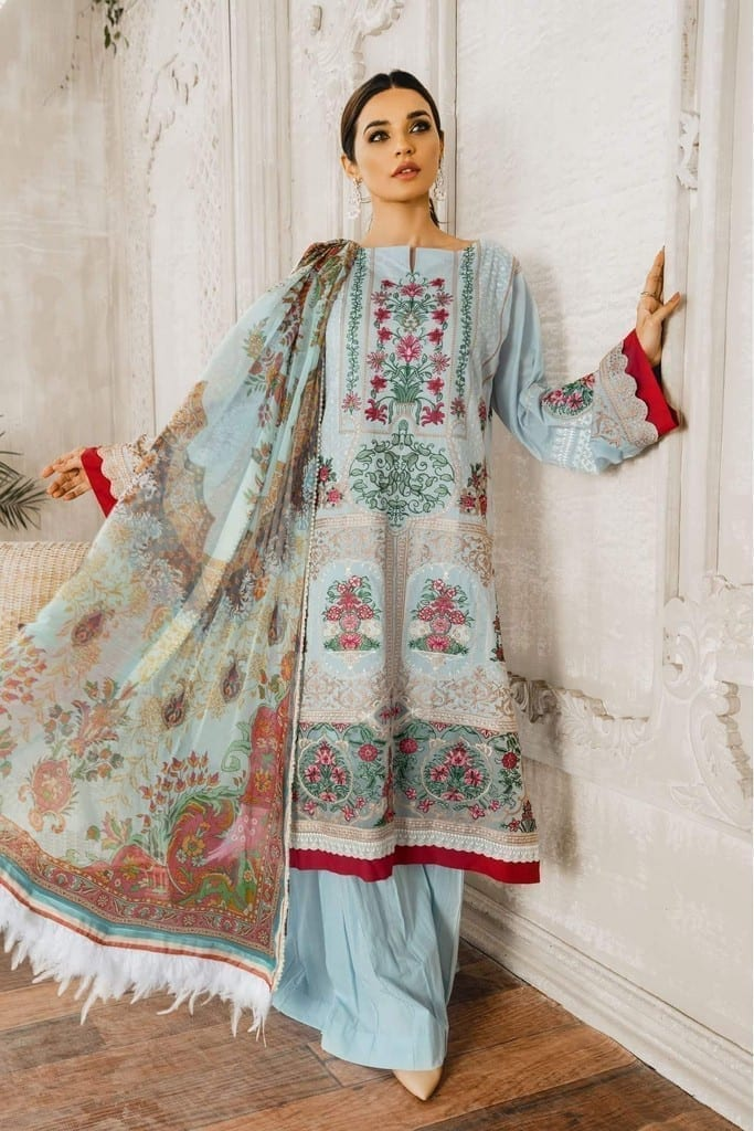 MARYUM N MARIA | Embroidered Lawn | Blue light (ML-05)