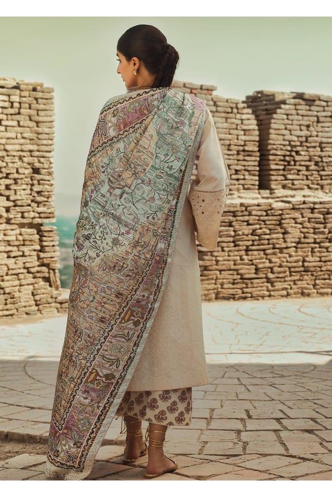 TENA DURRANI | Embroidered Lawn Suits | Buttercream