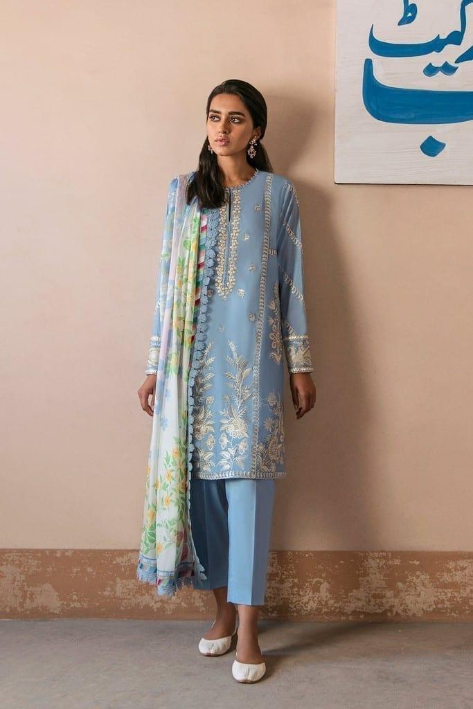 ZAHA LAWN | Embroidered Lawn Suits | SOSAN (ZL21-07 A)