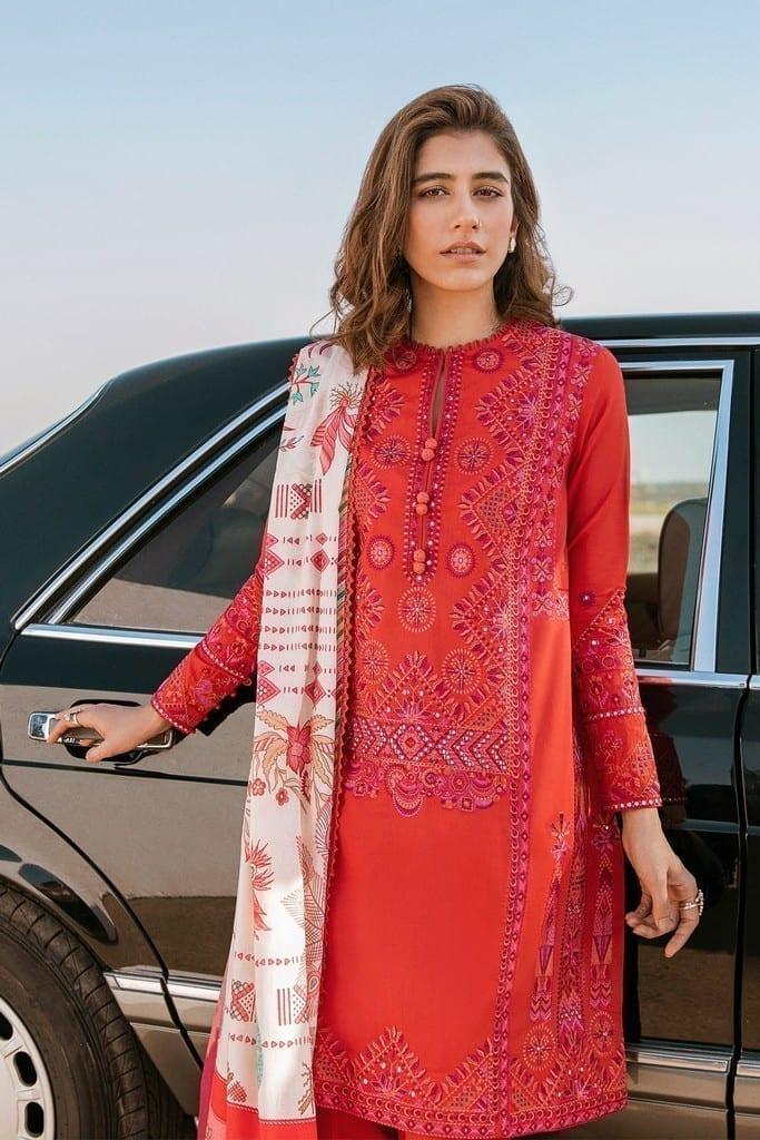 ZAHA LAWN | Embroidered Lawn Suits | GHERMEZ (ZL21-03 B)