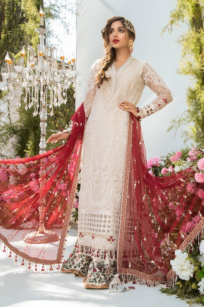 MARIA B | EMBROIDERED EID FESTIVE | Off White and Deep Red (BD-2103)