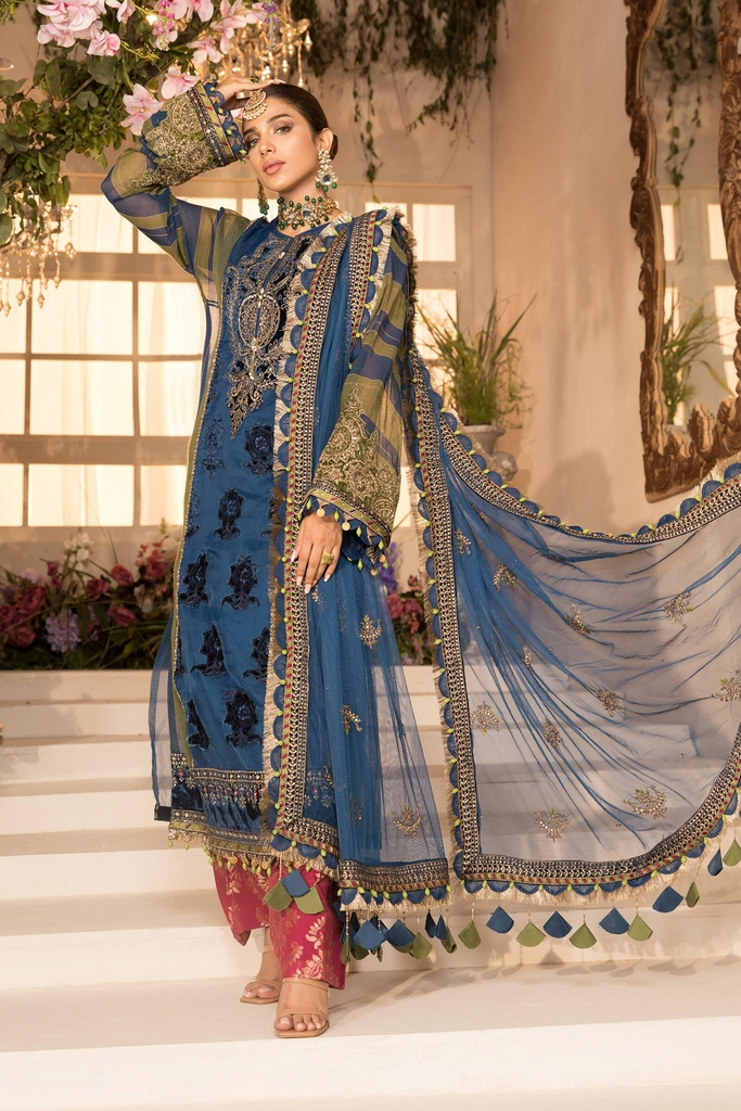MARIA B | EMBROIDERED EID FESTIVE | Blue Olive green with deep Coral