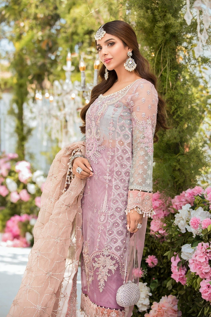 MARIA B   EMBROIDERED EID FESTIVE   Shades of Lilac Pink and Blue grey (BD-2105)