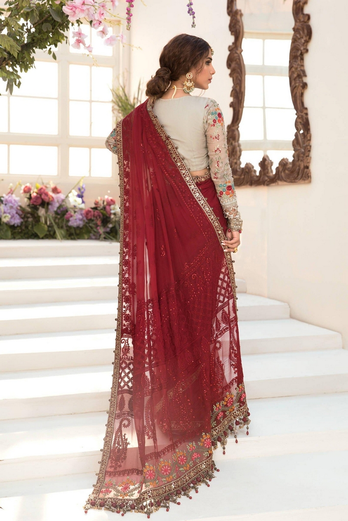 MARIA B | EMBROIDERED EID FESTIVE | Deep red and Beige (BD-2107)
