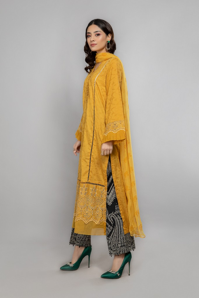 MARIA B | READY TO WEAR CASUAL | Suit Mustard DW-EA20-11