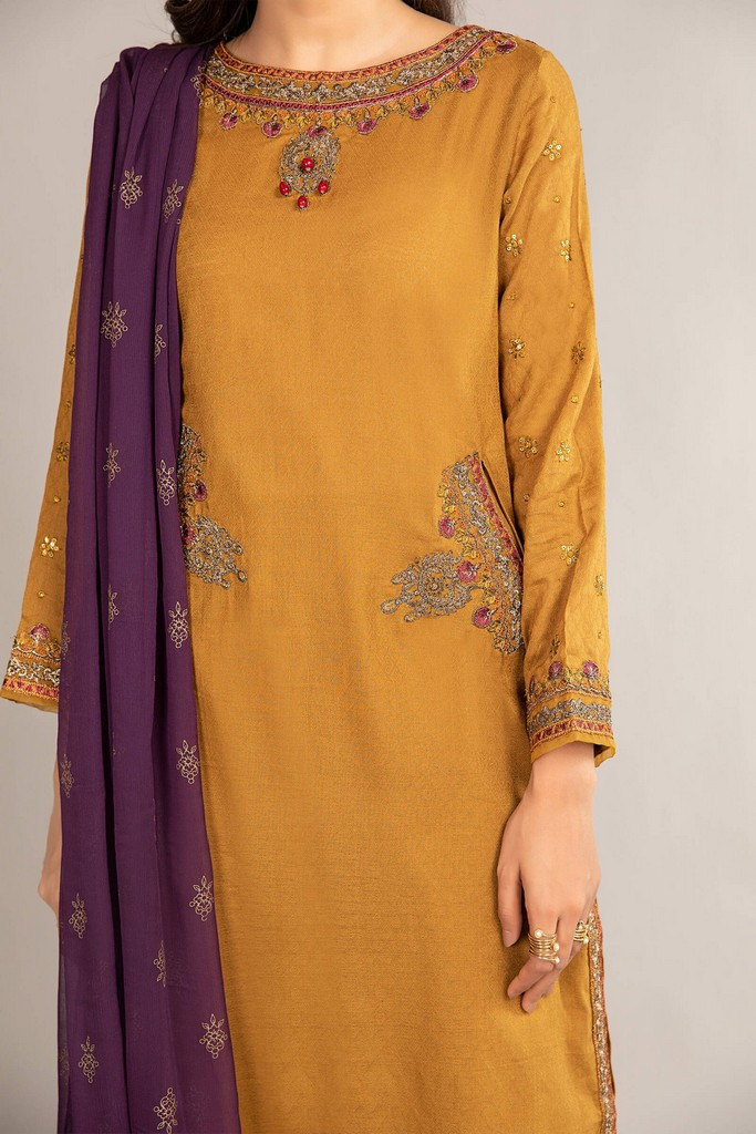 MARIA B   READY TO WEAR CASUAL   Suit Mustard DW-EF21-28