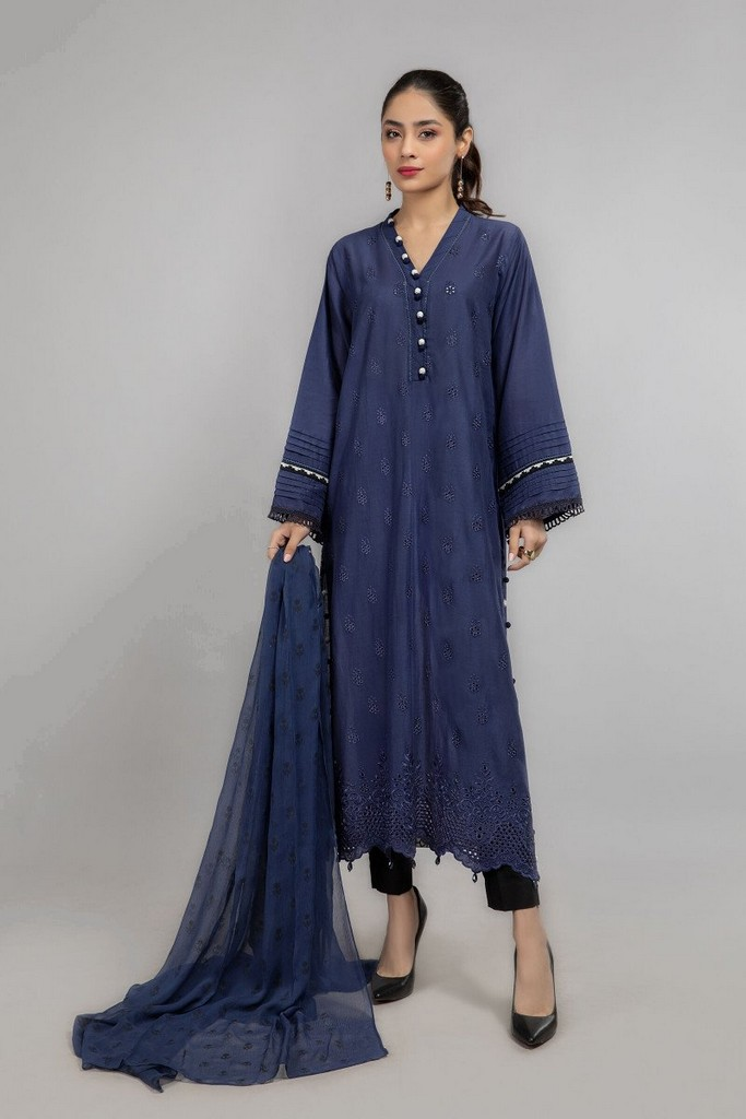 3 Piece Shirt fabric: Lawn Trouser fabric: Lawn cotton Dupatta fabric: Chiffon Long straight chiffli shirt with embroidered details on sleeves paired with straight trouser and matching dupatta