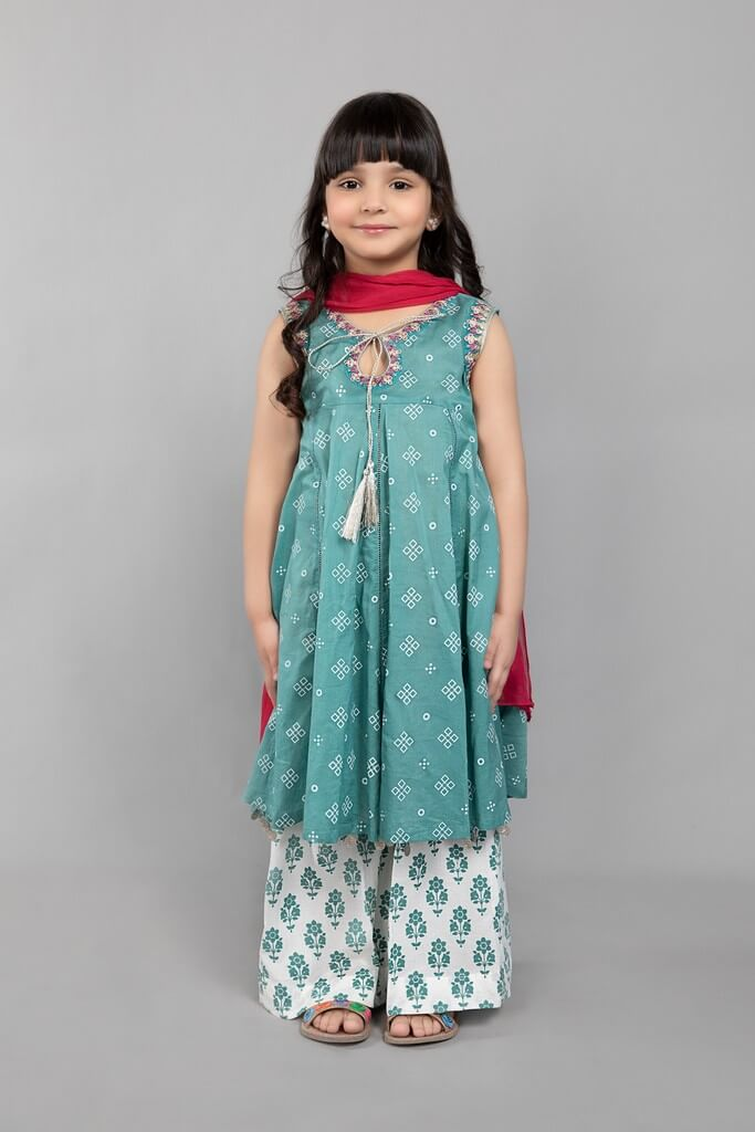 MARIA B | KIDS COLLECTION | Suit Teal Blue MKD-SS21-08