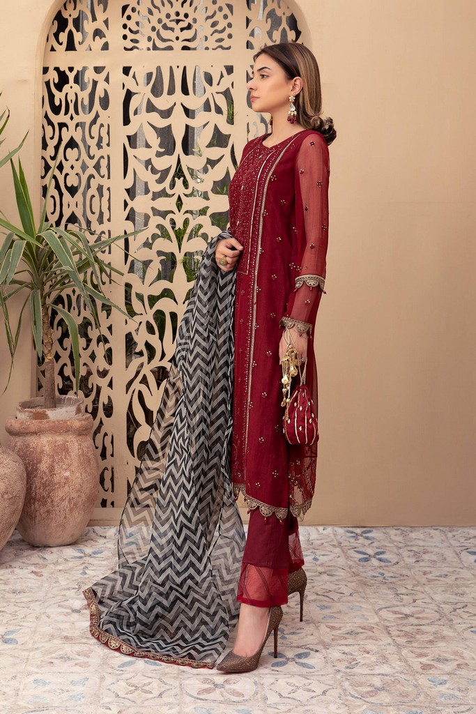 MARIA B | READY TO WEAR CASUAL | Suit Maroon SF-EF21-10