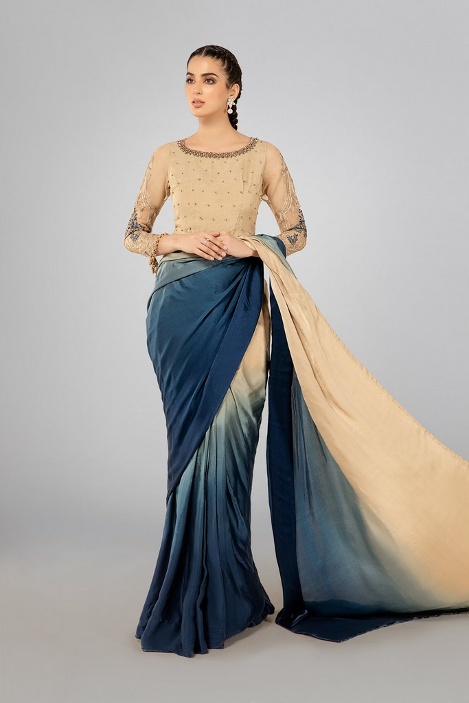 MARIA B | READY TO WEAR CASUAL | Suit Beige and Blue SF-W20-49